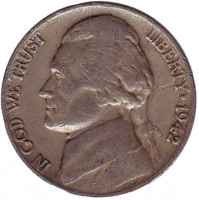 Джефферсон. Монтичелло. Монета 5 центов. 1942 год, США.