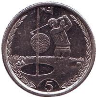 """Гольфист. Монета 5 пенсов. 1999 год, Остров Мэн. (Отметка """"AA"""")"""