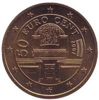 Монета 50 центов. 2002 год, Австрия.