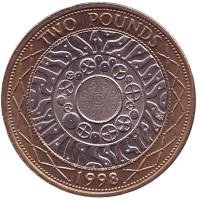 Монета 2 фунта. 1998 год, Великобритания.
