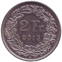 Гельвеция. Монета 2 франка. 2013 год, Швейцария.