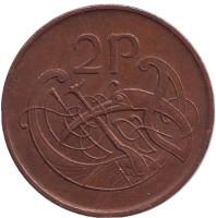 Птица. Ирландская арфа. Монета 2 пенса. 1986 год, Ирландия.