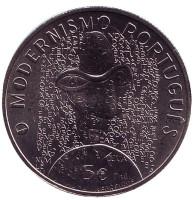 """Модернизм. """"Эпохи Евпропы"""". Монета 5 евро. 2016 год, Португалия."""