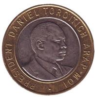 Джомо Кениата - первый президент Кении. Монета 10 шиллингов. 1994 год, Кения.