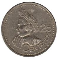 Индианка. Монета 25 сентаво. 2000 год, Гватемала. Из обращения.