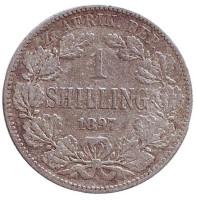 Монета 1 шиллинг. 1897 год, ЮАР.
