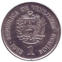 Монета 1 боливар. 1989 год, Венесуэла. (Крупный шрифт)