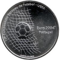 Евро-2004. Чемпионат Европы по футболу в Португалии. Монета 1000 эскудо, 2001 год, Португалия.