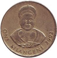 Король Мсавати III. Дзелигве Шонгве. Монета 1 лилангени. 2002 год, Свазиленд.
