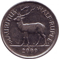 Олень. Сивусагур Рамгулам. Монета 1/2 рупии. 2009 год, Маврикий.