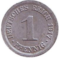 Монета 1 пфенниг. 1917 год (A), Германская империя.