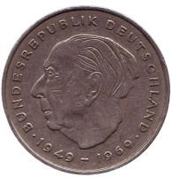 Теодор Хойс. Монета 2 марки. 1972 год (D), ФРГ. Из обращения.