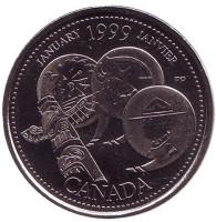 Миллениум. Январь 1999. Развитие страны. Монета 25 центов. 1999 год, Канада.