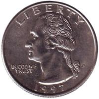 Вашингтон. Монета 25 центов. 1997 (D) год, США.