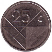Монета 25 центов. 2008 год, Аруба.