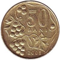 Монета 50 бани. 2008 год, Молдавия. Из обращения.