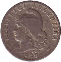 Монета 20 сентаво. 1928 год, Аргентина.