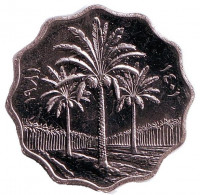 Пальмовые деревья. Монета 10 филсов. 1981 год, Ирак.