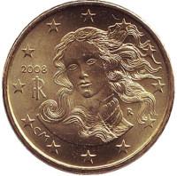 Монета 10 центов. 2008 год, Италия.