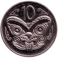 Маска маори. Монета 10 центов. 1983 год, Новая Зеландия. BU.