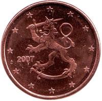 Монета 5 центов. 2007 год, Финляндия.
