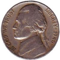 Джефферсон. Монтичелло. Монета 5 центов. 1946 год (D), США.