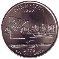 Миннесота. Монета 25 центов (D). 2005 год, США.