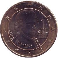 Моцарт. Монета 1 евро. 2002 год, Австрия.
