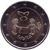 Мир. Монета 2 евро. 2017 год, Мальта.