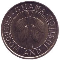 Монета 100 седи. 1991 год, Гана.