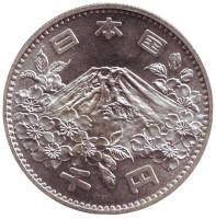 XVIII Летние Олимпийские Игры 1964 года в Токио. Фудзи. Монета 1000 йен. 1964 год, Япония.