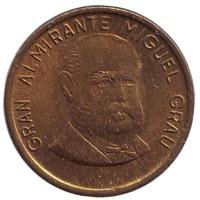 Мигель Грау. Монета 10 сентимов. 1986 год, Перу.