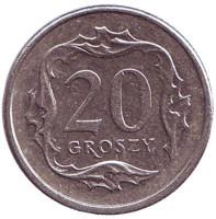Монета 20 грошей. 2000 год, Польша.