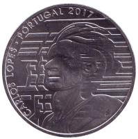 Карлуш Лопиш. Монета 7,5 евро. 2017 год, Португалия. BU.