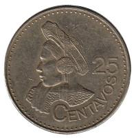 Индианка. Монета 25 сентаво. 2011 год, Гватемала. Из обращения.