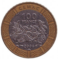 Монета 100 франков. 2006 год, Центральные Африканские штаты. Из обращения.