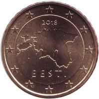 Монета 10 центов. 2018 год, Эстония.