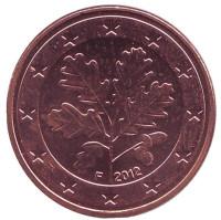 Монета 5 центов. 2012 год (F), Германия.