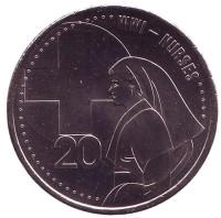 Санитарки. АНЗАК. Монета 20 центов. 2015 год, Австралия.