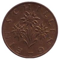 Эдельвейс. Монета 1 шиллинг. 1983 год, Австрия.