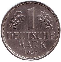 Монета 1 марка. 1950 год (D), ФРГ.