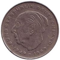 Теодор Хойс. Монета 2 марки. 1973 год (F), ФРГ. Из обращения.