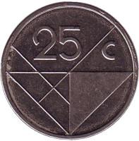 Монета 25 центов. 2009 год, Аруба.