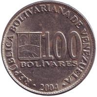 Монета 100 боливаров. 2004 год, Венесуэла.