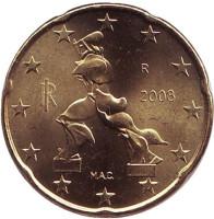 Монета 20 центов. 2008 год, Италия.