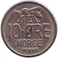 Пчела. 10 эре. 1969 год, Норвегия.