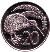 Киви (птица). Монета 20 центов. 1983 год, Новая Зеландия. BU.