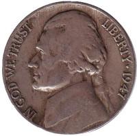 Джефферсон. Монтичелло. Монета 5 центов. 1947 год (D), США.