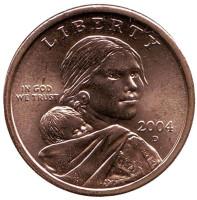 """Сакагавея (Парящий орел), серия """"Коренные американцы"""". 1 доллар, 2004 год (D), США."""