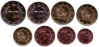 Набор монет евро (8 шт). 2017 год, Кипр.